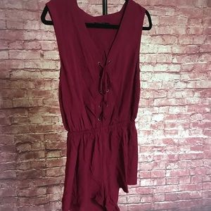 Forever 21 maroon romper lace up top